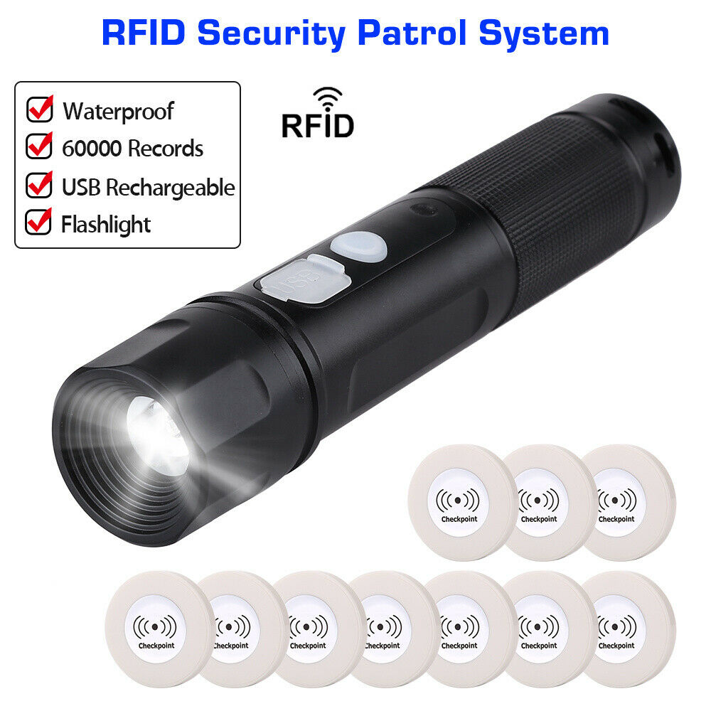 Anti-broken Guard Tour System Wand Rfid Security Patrolling System With Flashlight Patrol Recorder + 10pcs RFID Checkpoint