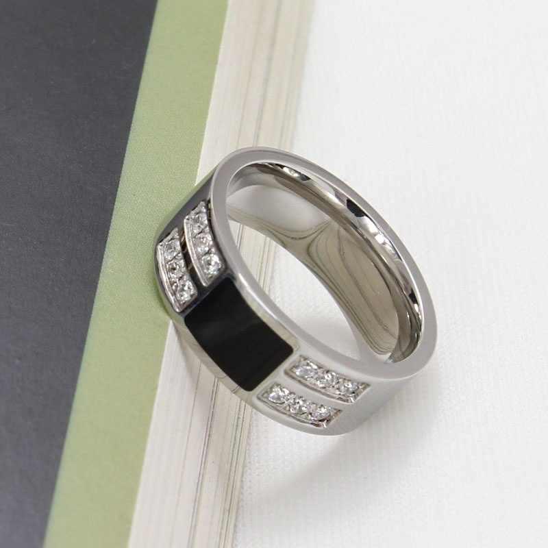 FDLK แฟชั่นบุรุษสตรี VINTAGE 316L สแตนเลสแหวนนิลสีดำ CZ เครื่องประดับงานแต่งงานแหวน