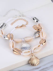 Anklets Barefoot-Bracelet Foot-Jewelry Natural Bohemian Beach Women Summer for Shell-Conch-Rope