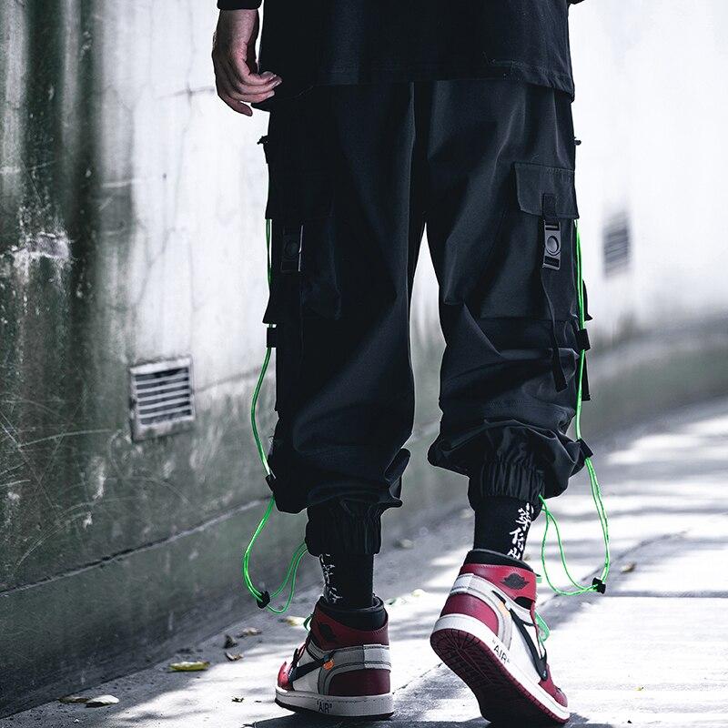 11 BYBB'S DARK Men's Black Cargo Pants Hip Hop Streetwear Sweatpants Men 2020 Fashion Pocket Ribbon Trousers Male Harajuku XN60