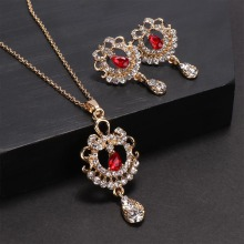 цены Elegant Luxury Jewelry Set Zinc Alloy Rhinestone Flower Waterdrop Design Red Filled Colorful Pendant Necklace Earrings