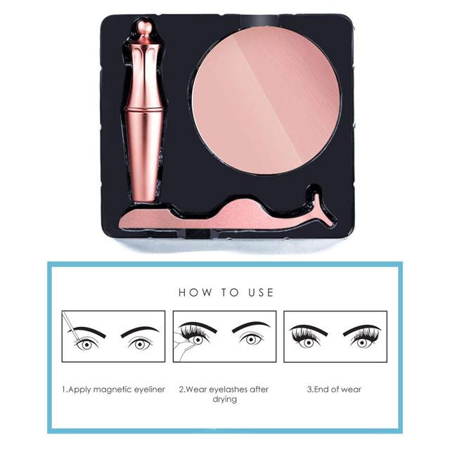 2019 New Hot Magnetic Liquid Eyeliner & Magnetic False Eyelashes Waterproof Long Lasting Eyeliner False Eyelashes with Tweezer 4