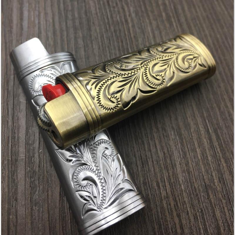 Metal Armor Gas Lighter Shell Arabesque Hollow Carving J5 Lighter Case General Plastic Body Protection Lighter Cover