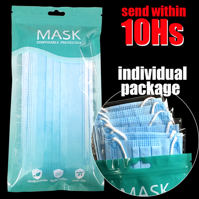 10pcs/bag High Grade Filter Disposable Face Mask 3 ply Protective Masks Dust PM 2.5 Hygiene mouth Mask