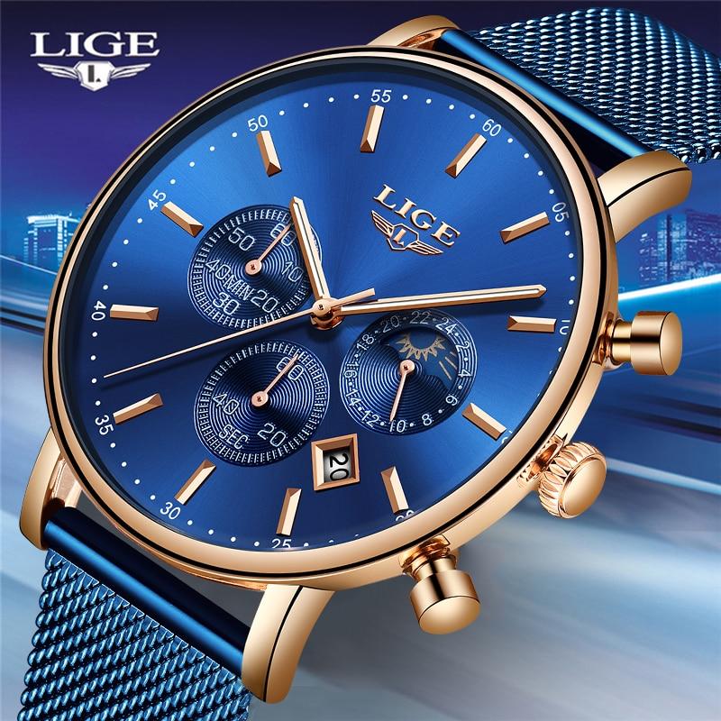 LIGE Sport Wristwatch Dress Slim Male Top-Brand Waterproof Casual Fashion Luxury Relogio Masculino