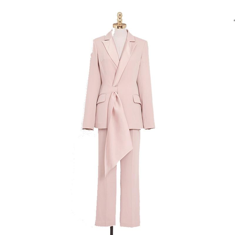 Suit women autumn new women's fashion temperament casual two-piece pink suit jacket nine pants professional party dress suit 19