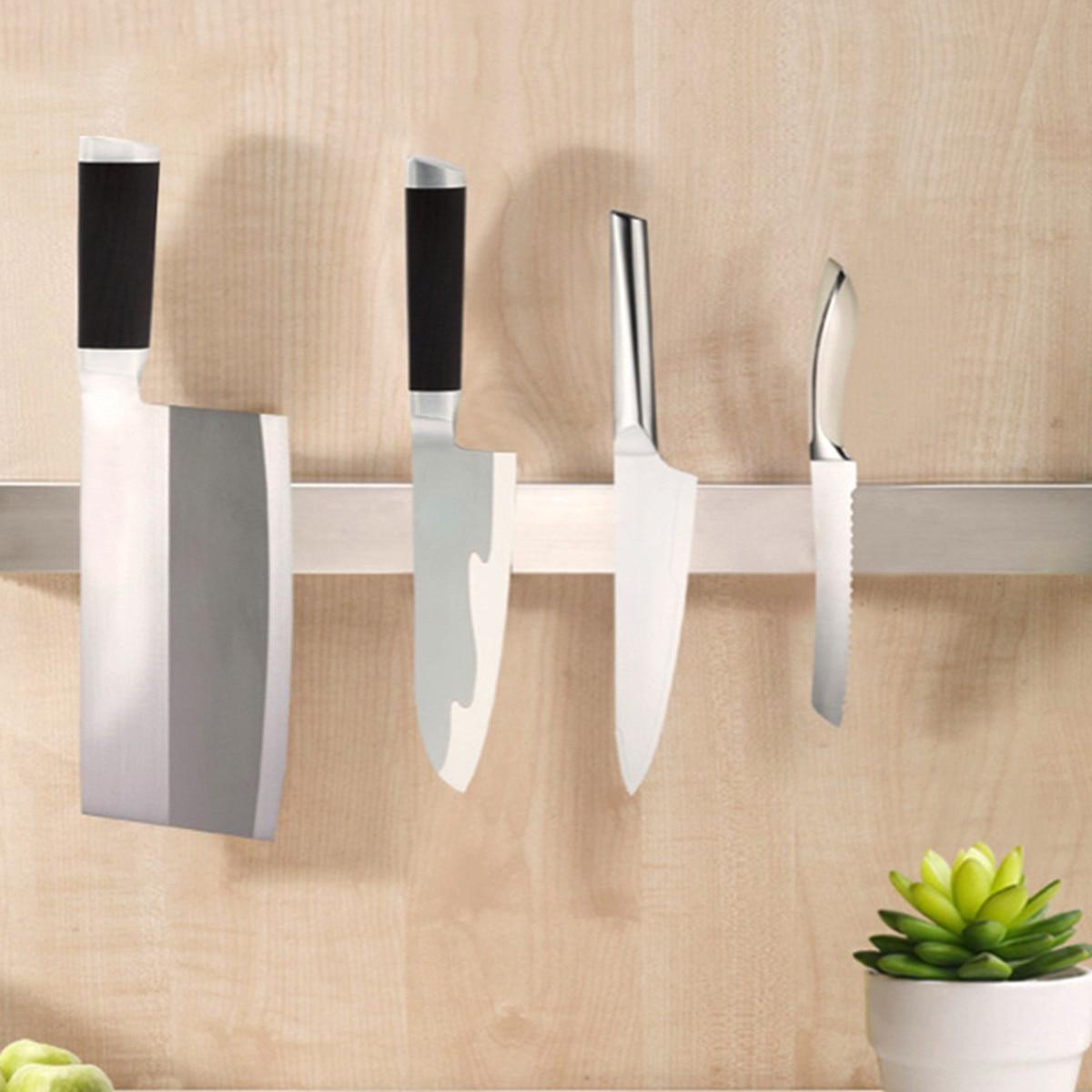 Кухонный нож из нержавеющей стали, отделочный держатель для хранения, стойка, Полоска, мощный магнитный для ножей, держатель, инструменты, с