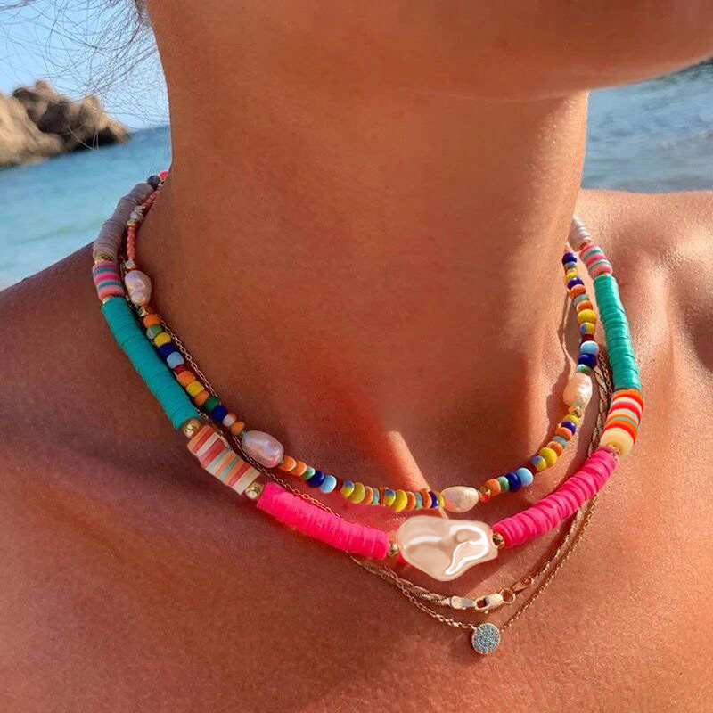 Summer Bohemia Soft Clay Necklace for Women Statement Imitation Pearl Choker Necklace Fashion Colorful Beach Jewelry