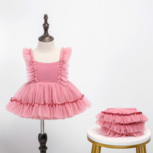 2020 Summer Girls Tutu Dresses Toddler Pink Tulle Princess Ball Gown Infant Girl Birthday Clothes PP Pants Baby Baptism Frocks baby girl baptism gown 2015 summer style girls pink white sequin tutu party wedding dresses 1 year birthday dress 12m 6y