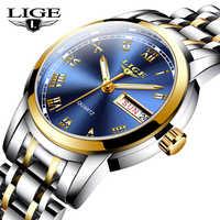 LIGE Frauen Uhren Einfache Edelstahl Uhr Lässige Mode Uhr Frauen Sport Wasserdichte Armbanduhr Damen Relogio Feminino