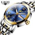 Relojes LIGE para mujer Reloj Simple de acero inoxidable reloj de moda Casual reloj de pulsera deportivo impermeable para mujer reloj femenino