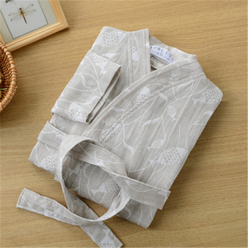 Ladies night gown cotton gauze Yukata Absorbent unisex sexy nightwear Japanese steaming beauty bathrobe Hotel pajamas pijamas