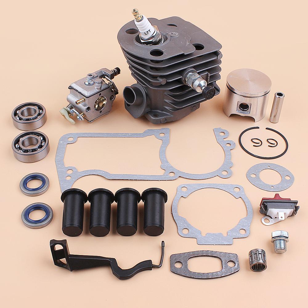 46MM Cylinder Piston Carburetor AV Buffer Choke Rod Gaskets Kit For Husqvarna 55 51 Chainsaw Compression Release Value Plug