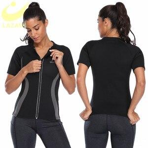 Image 2 - Lazawg Hot Zweet Gewichtsverlies Shirt Neopreen Body Shaper Sauna Jas Pak Workout Training Kleding Vet Brander Top Full Zip up