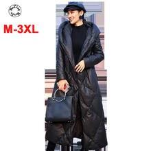 Женский кожаный пуховик с капюшоном длинное утепленное пальто