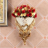 European style swan vase wall decoration, retro creative home wall decoration pendant, three dimensional wall hanging flower