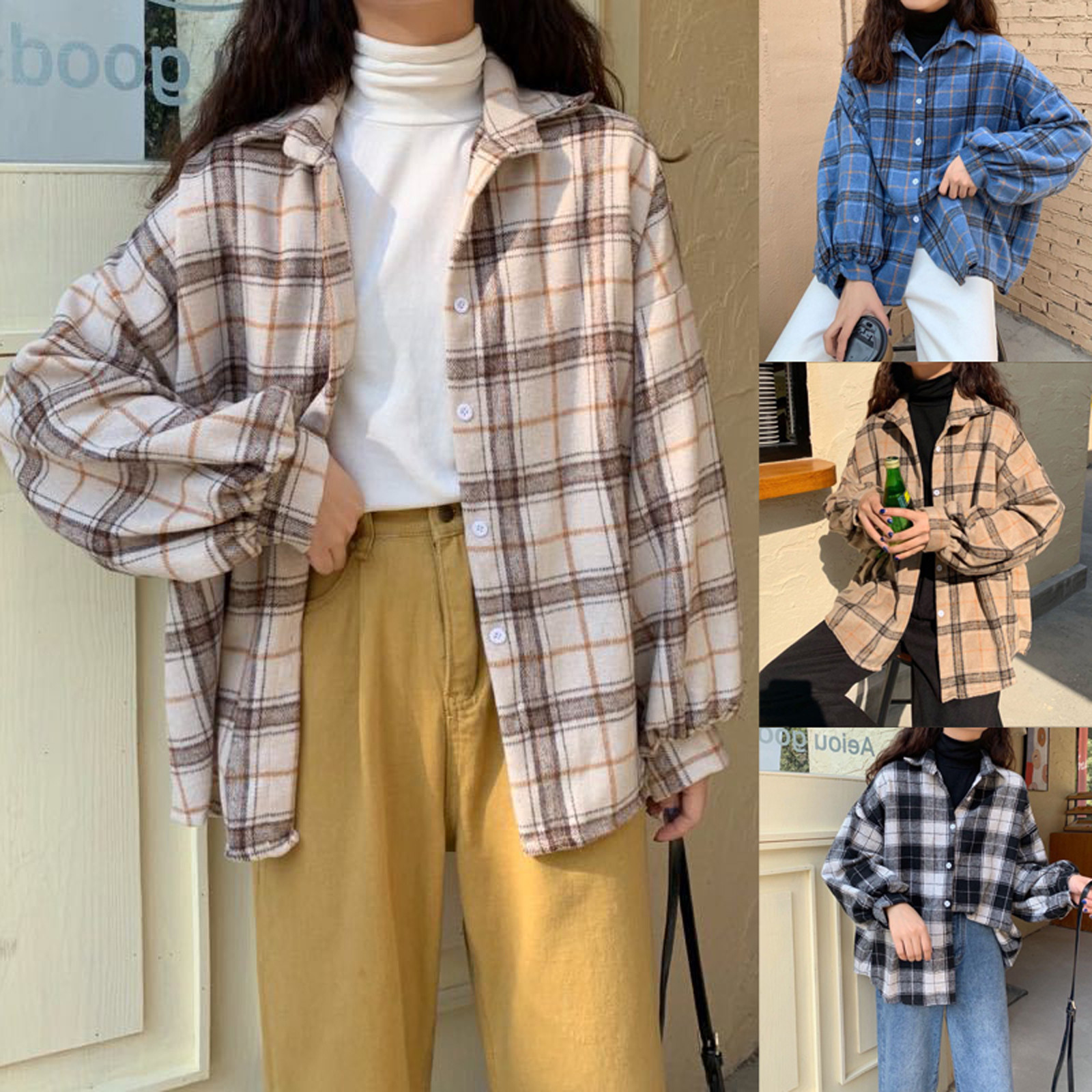 40# Women Plaid Warm Shirt Female Jacket Checked Coat Casual Turn down Collar Long Sleeve Autumn Blouse Fashion Loose Top