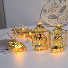 Creative LED Muslim Ramadan String Lights Wrought Iron Oil Lamp Shape Light Golden Decoration For Festival Party Bedroom(China)