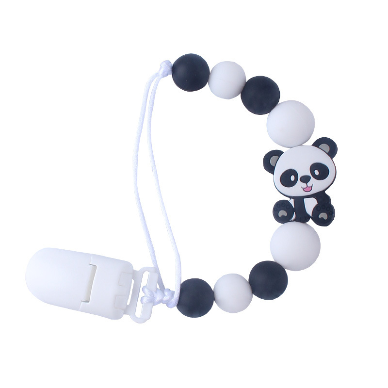 1Pcs New Baby Chew Toy Silicone Pacifier Anti-chain Clip Training Baby Teether Panda Car Chew Toys Beaded Pacifier Clip Best Gif