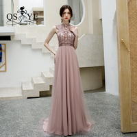 QSYYE 2019 New Arrival Long Prom Dresses Tulle halter ever pretty party Beading Floor Length Formal Evening Dress Party Gown