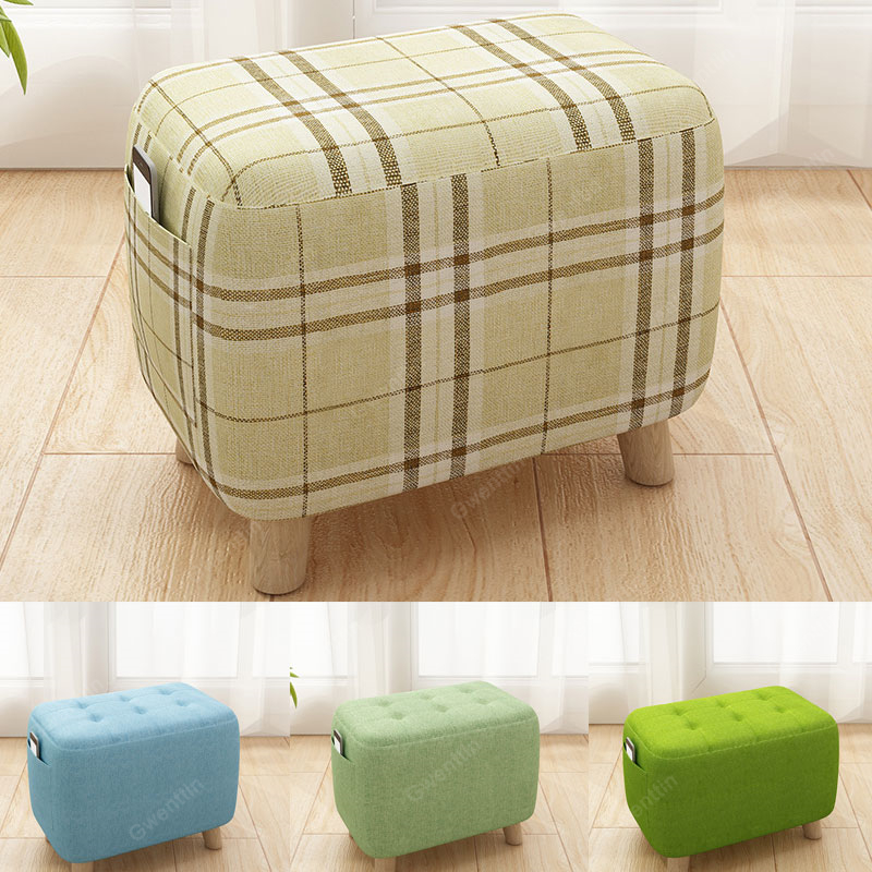 Nordic Square Fabric Wooden Foots Stool Modern Small Chair ...