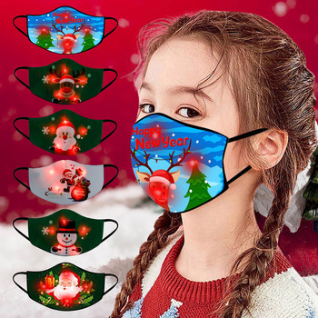Children's Led Christmas Printed Luminous Mask Fashion Breathable Cotton Mask Face Mask Protective Children's Fun Mask Masque #Z image