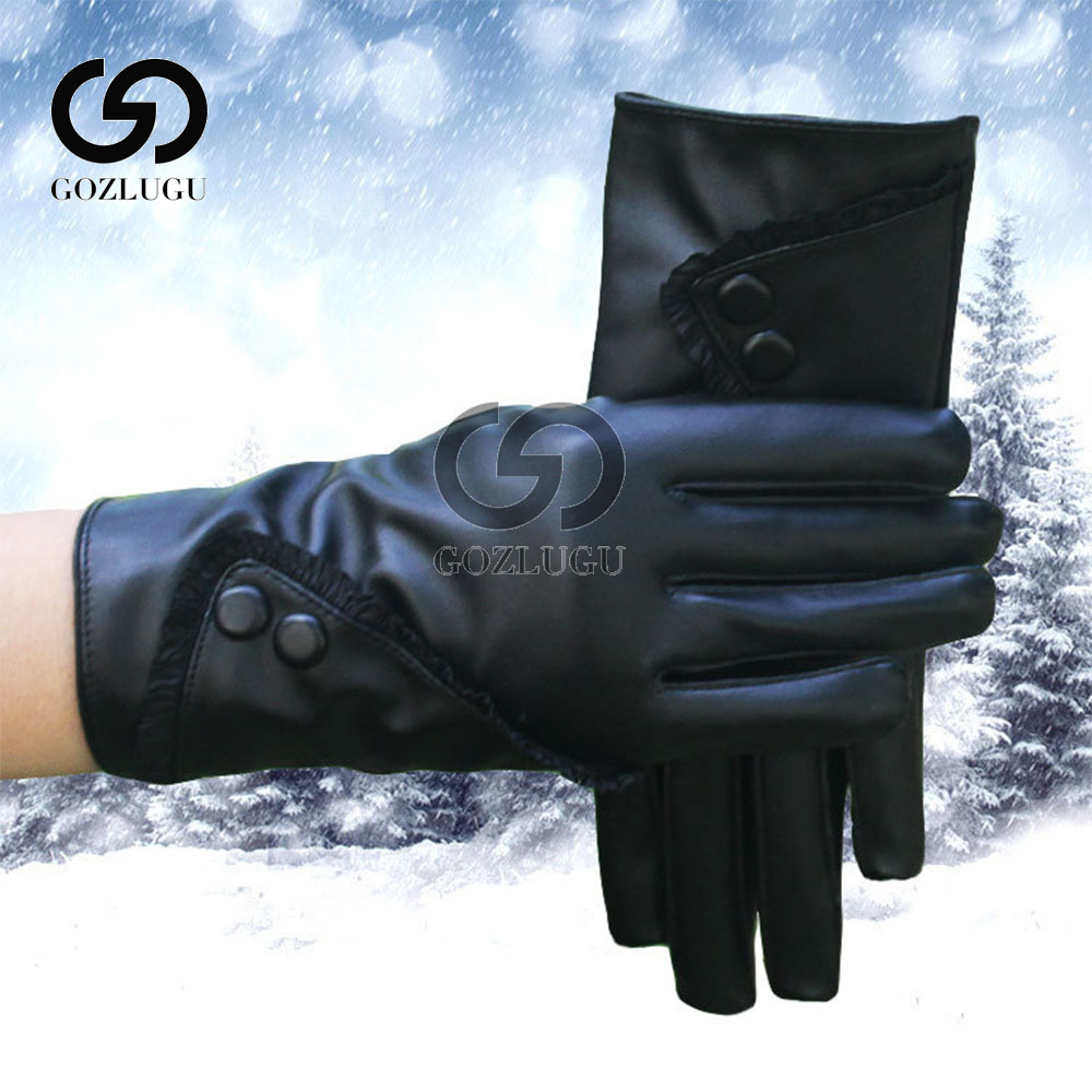 Luxurious Fashion Hot Solid Women Girl Leather Winter Super Warm leather women Gloves