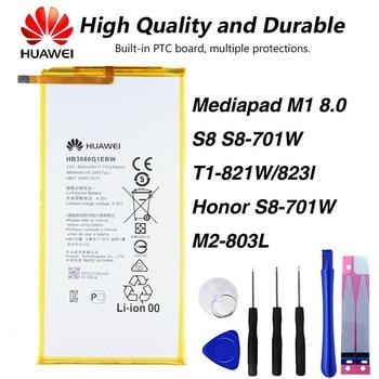 Original Huawei HB3080G1EBW  Battery For Huawei Mediapad T3 M1 8.0  S8 701U S8-701W S8-701uT1-821W T1-823l M2-803L4650mAh