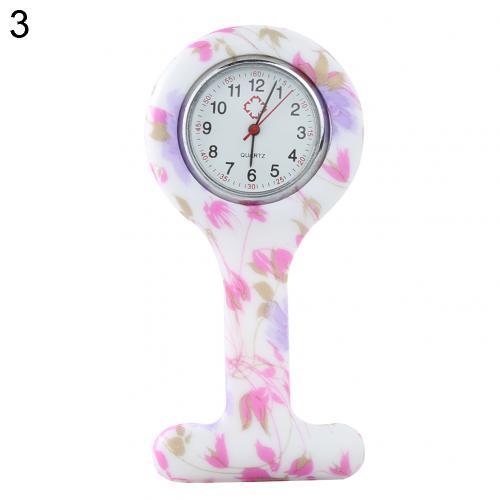 Портативный Зебра арабские печатные цифры Круглый циферблат силикон Медсестра часы Брошь Туника кармашек для часов Часы - Цвет: 3