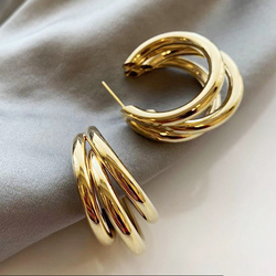 Gold and Silver color round Drop Earring for Women Alloy Trendy Three-layer earrings Ear Accessories Hot 2020