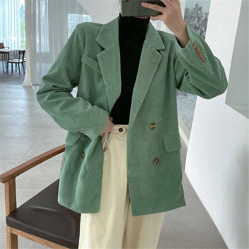 HziriP 2020 Elegance Solid Corduroy All Match Brief Warm Autumn Chic Office Lady Minimalist Women Loose Fashion Casual Blazers