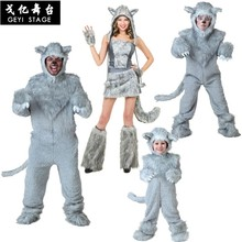 Timber Wolf Anime Kigurumi Onesies For Adult Women Winter Warm Flannel Animal Cosplay Costume Girls Festival Party Loose Set Man(China)