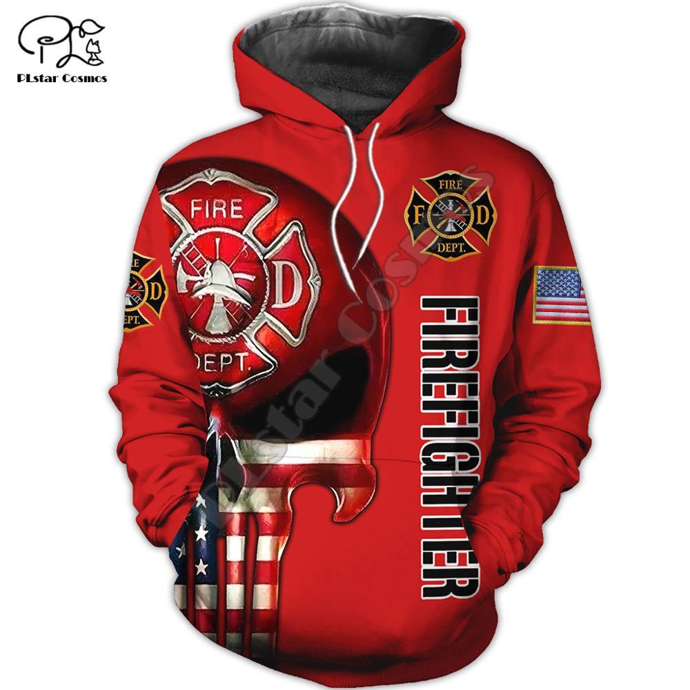 Men Unisex harajuku USA Firefighter Skull print 3d hoodie America Sweatshirt zipper women Pullover streetwear jacket tracksuit