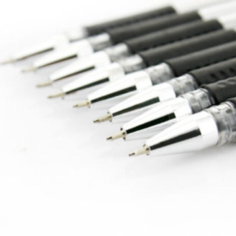 12PCS Plastic Black Gel Ink Clear Ball Point Pen 0.5mm School Tool Made In China
