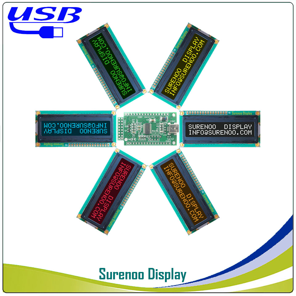 LCD2USB USB 162 16X2 1602 Character LCD Module Display Screen Panel Sutible LCD Smartie & AIDA64 For DIY PC