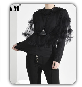 [EAM] 2020 New Spring Lapel Long Sleeve Solid Color Black Gray Split Joint Loose Big Size Jacket Women Fashion JC969 83