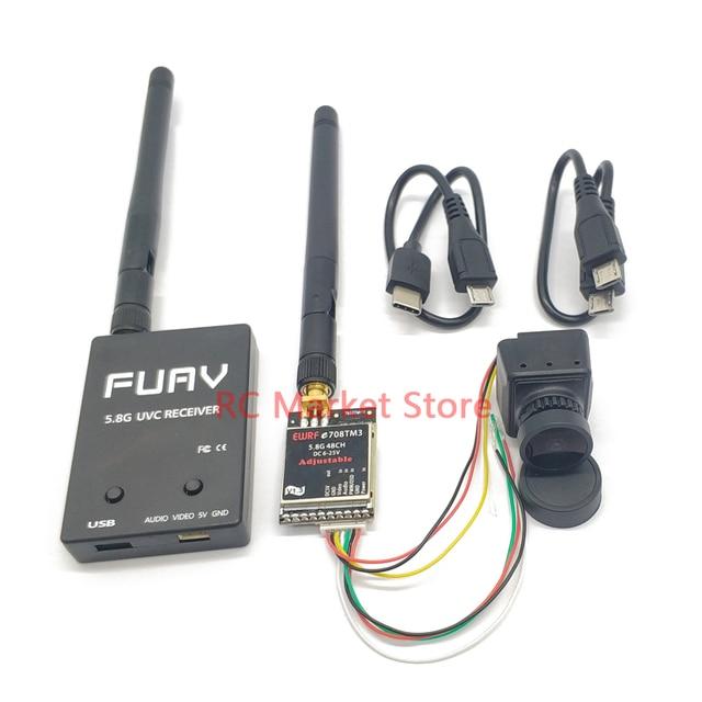 Receptor de vídeo fácil de usar, 5,8G, FPV, UVC, enlace descendente, OTG VR, teléfono Android + 5,8G, 25mW/200mW/600m, transmisor + CMOS 1200TVL, cámara fpv