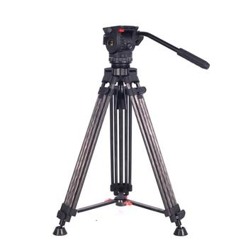 цена на TERIS TRIX TCE-CF Carbon Fiber Video Camera Tripod Kit w/ Fluid Head Load 7KG Professional Tripod