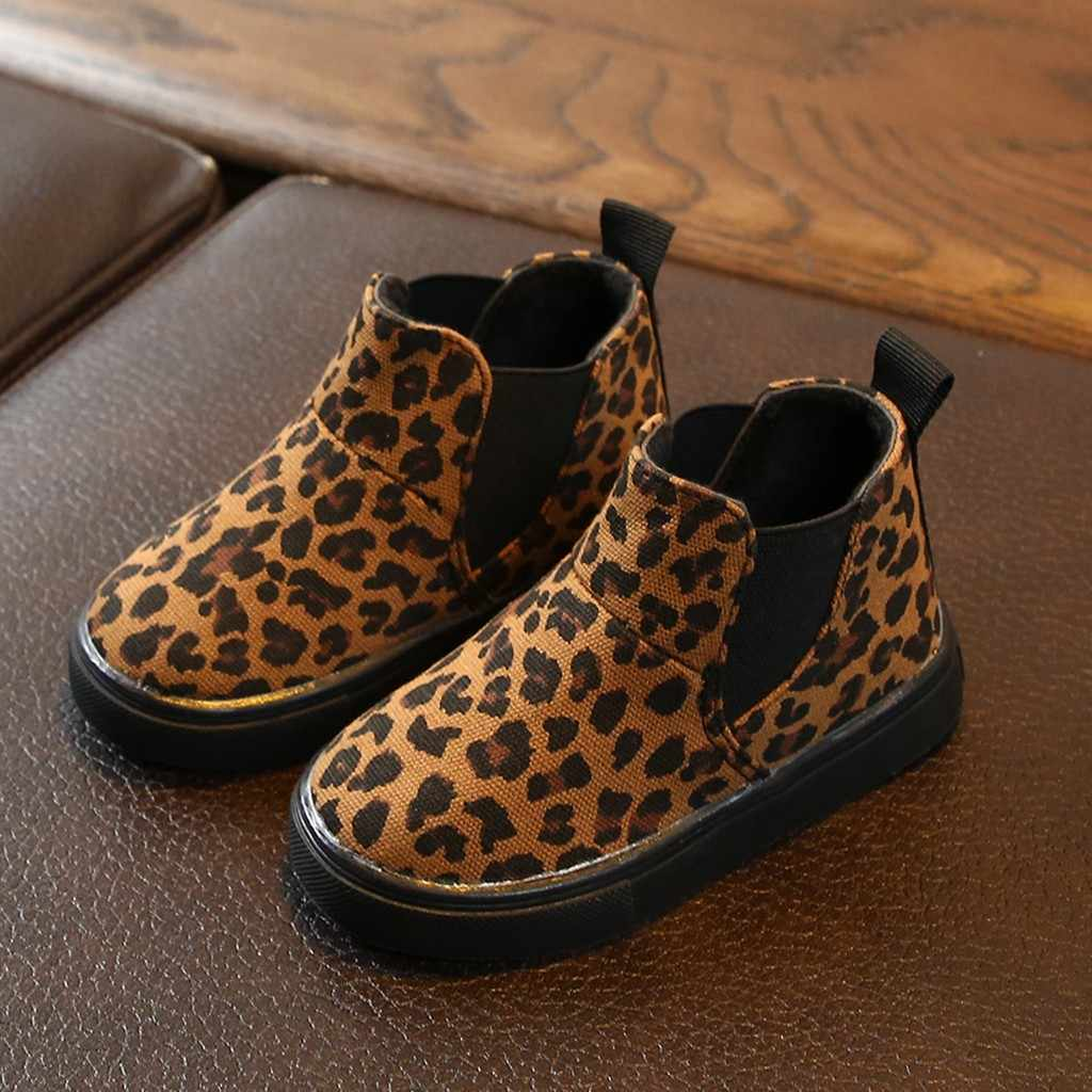 ילדי בנות הדפס מנומר חורף חם מגפי ילדים ילדה אופנה קצר מגפי תינוק בנות נעליים יומיומיות מגפי עבור בנות 2019