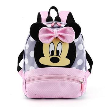 Disney Cartoon plecak dla chłopców dziewcząt Minnie Mickey Mouse dzieci piękny tornister plecak do przedszkola dla dzieci prezent tanie i dobre opinie CN (pochodzenie) NYLON zipper Backpack 0 25kg 28cm W stylu rysunkowym Disney school bag Damsko-męskie 22cm plecaki do szkoły