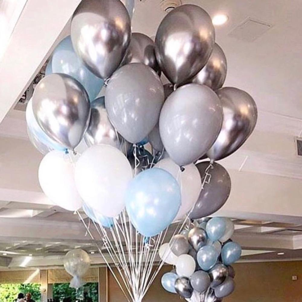30pcs/lot 10inch Silvery Chrome Metallic and Gray white Latex Balloons for Wedding Bridal Shower Theme Party Decorations Globos