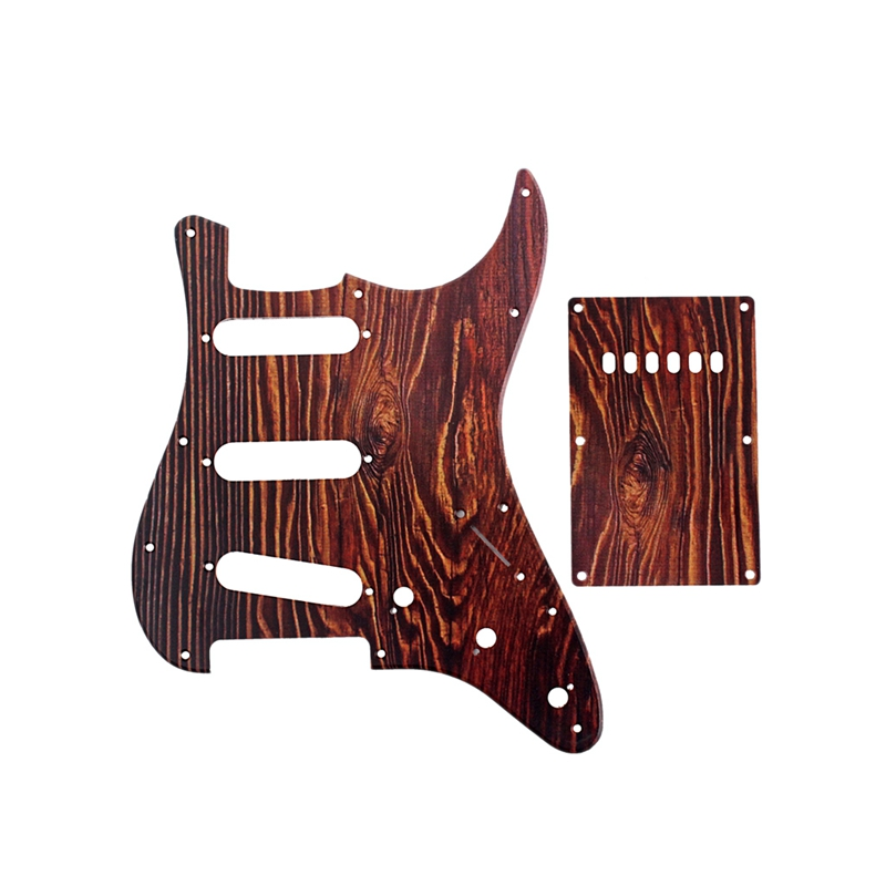 ELOS-Set of 3 Ply Red Tortoise Shell Scratch Plate Electric Guitar Pickguard Strat SSS & Back Plate