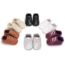 Обувь для новорожденных мальчиков и девочек, резиновая нескользящая подошва для детей преддошкольного возраста из кожи ПУ классические