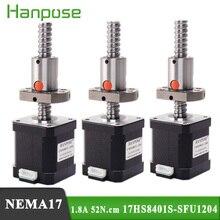 3 stücke 17HS8401S SFU1204 1,8 EINE 52N.CM Nema17 Stepper Motor 4 blei L100/200/300mm für 3D drucker CNC Nema 17 kugelumlaufspindel motor