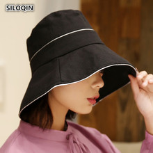 SILOQIN Trend Summer Woman New Bucket Hat Panama Oversized Sun Visor Sunscreen Anti-UV Beach Foldable Lady Brand Leisure