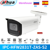 Dahua Original IPC-HFW2831T-ZAS-S2 8MP 4K 5X Zoom POE SD Karte Slot Audio Alarm I /O H.265 + 60M IR IVS IP67 Sternenlicht IP Kamera
