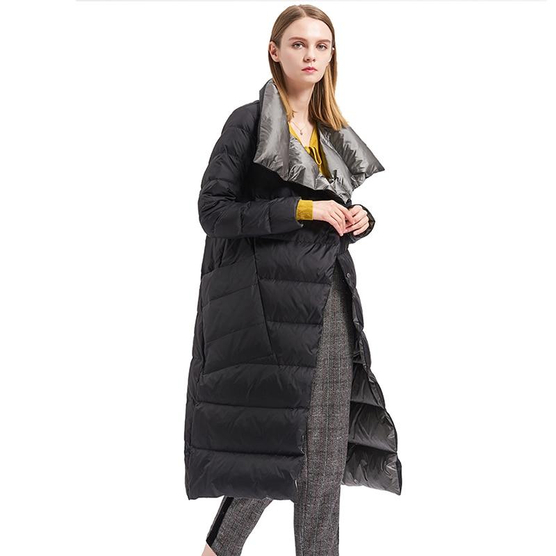 Fitaylor  Women Double Sided Down Long Jacket Winter Turtleneck White Duck Down Coat Double Breasted Warm Parkas Snow Outwear 3