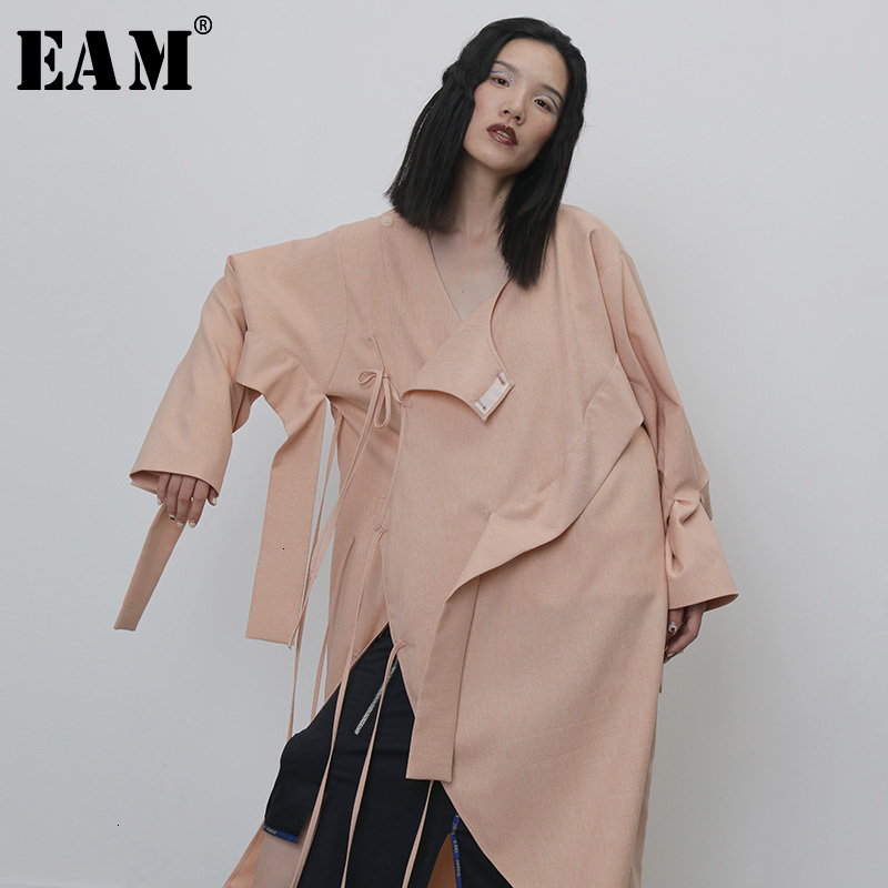 [EAM] Women Bandage Split Big Size Trench New Round Neck Long Sleeve Loose Fit Windbreaker Fashion Tide Spring Autumn 2020 1H266
