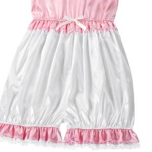 Image 5 - เกย์ Sissy กางเกง Romper Silky ซาตินตุ๊กตาคอสั้นพัฟแขนตัดลูกไม้ Romper เด็กผู้ใหญ่ CROSS Dresser เครื่องแต่งกาย