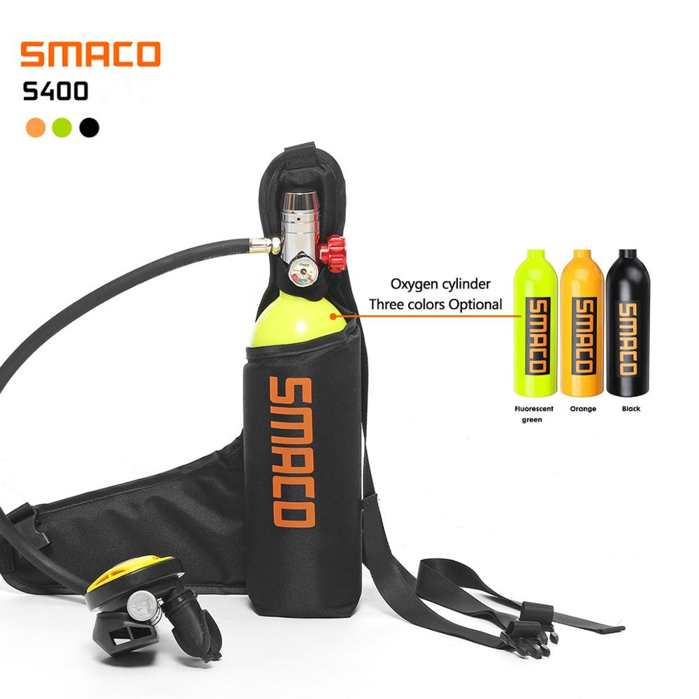 SMACO 1L 20min Underwater Time Scuba Oxygen Cylinder Air Tank Pressure Reducing Valve Snorkeling Breathing Valve Regulator Pouch